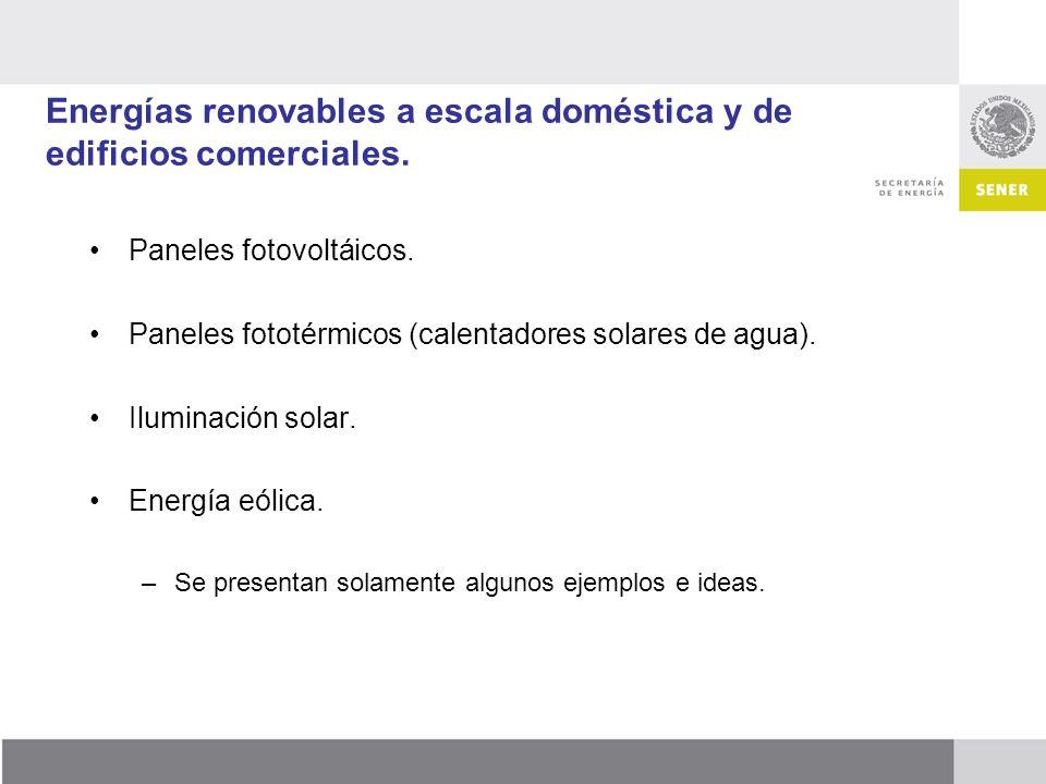 Energías renovables a escala doméstica y de edificios comerciales. Paneles fotovoltáicos. Paneles fototérmicos (calentadores solares de agua). Ilumina