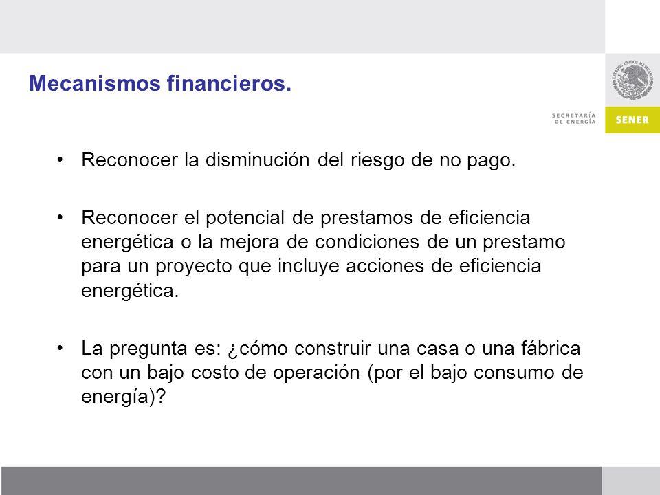 Mecanismos financieros. Reconocer la disminución del riesgo de no pago. Reconocer el potencial de prestamos de eficiencia energética o la mejora de co