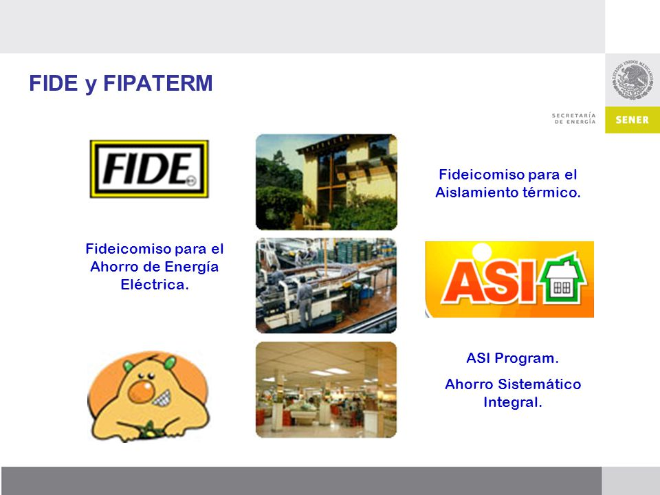 FIDE y FIPATERM Fideicomiso para el Ahorro de Energía Eléctrica. Fideicomiso para el Aislamiento térmico. ASI Program. Ahorro Sistemático Integral.