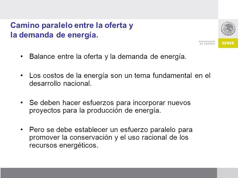 Camino paralelo entre la oferta y la demanda de energía. Balance entre la oferta y la demanda de energía. Los costos de la energía son un tema fundame