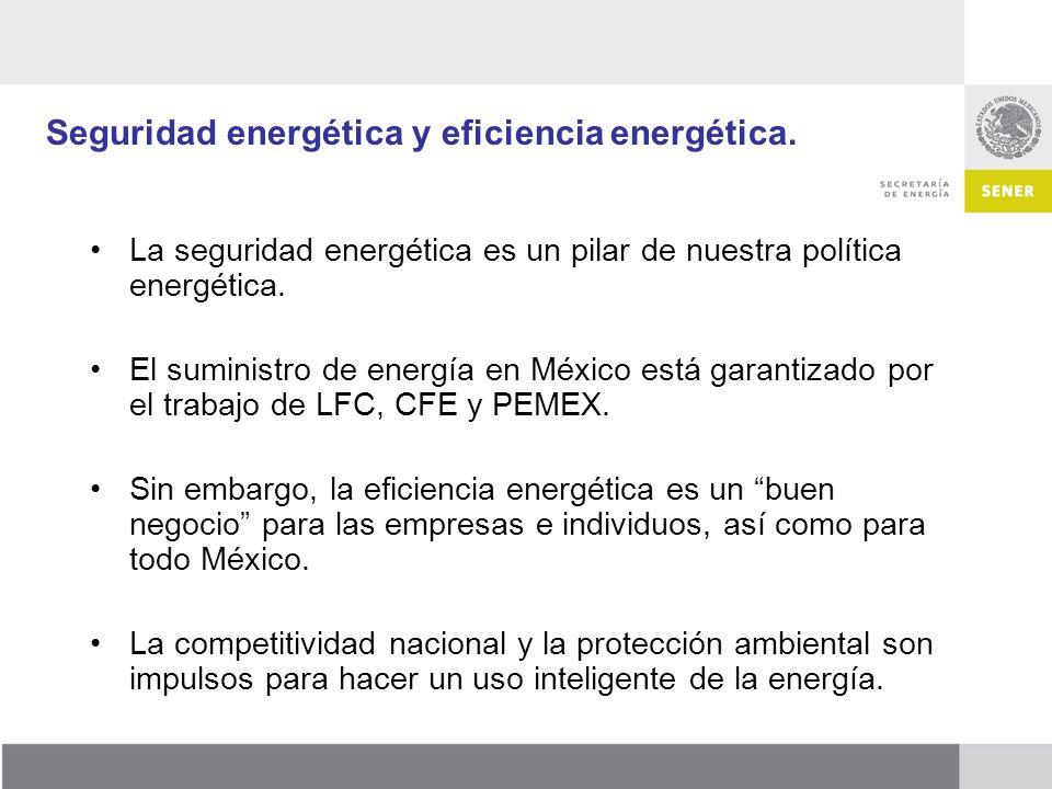 Seguridad energética y eficiencia energética. La seguridad energética es un pilar de nuestra política energética. El suministro de energía en México e