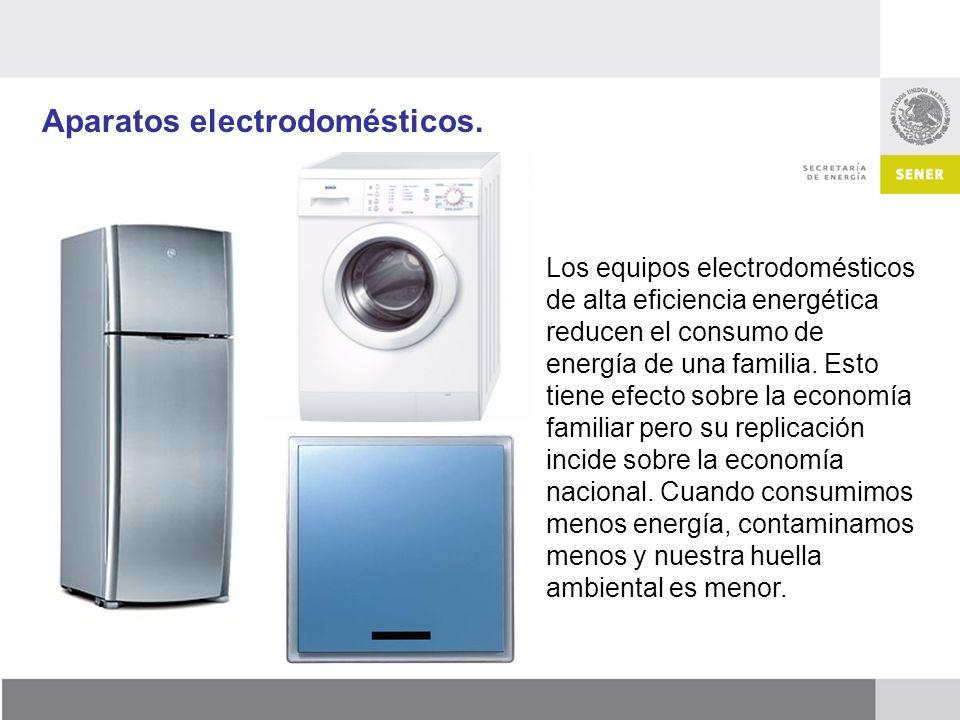 Aparatos electrodomésticos. Los equipos electrodomésticos de alta eficiencia energética reducen el consumo de energía de una familia. Esto tiene efect
