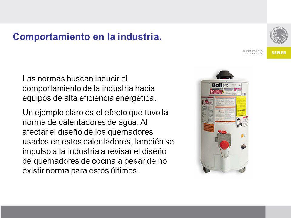 Comportamiento en la industria. Las normas buscan inducir el comportamiento de la industria hacia equipos de alta eficiencia energética. Un ejemplo cl