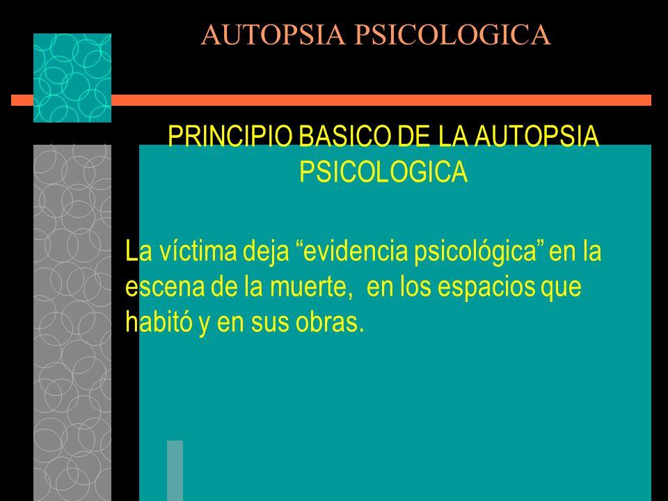 AUTOPSIA PSICOLOGICA 3.Establecer el periodo psicológico y comportamental del tiempo de muerte 4.