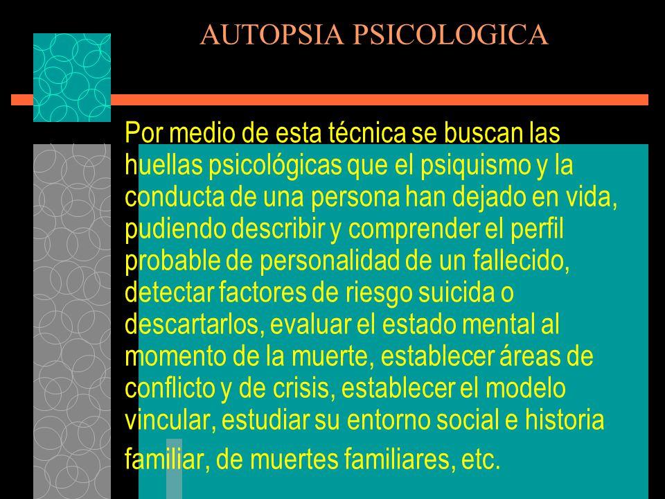AUTOPSIA PSICOLOGICA INDICADORES DE PROBABLE CONDUCTA SUICIDA (5) Pérdida de energía o fatiga.