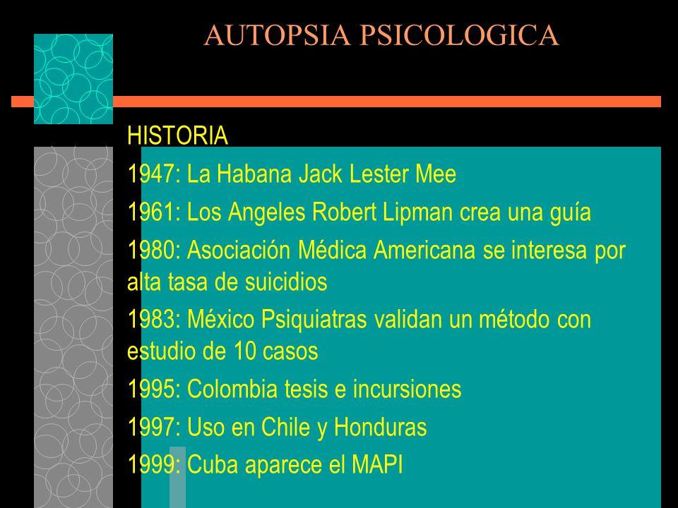 AUTOPSIA PSICOLOGICA El PAP consta de cuatro ejes principales: 1.- Datos personales del occiso y detalles de la muerte 2.- Historia del occiso a través de documentos