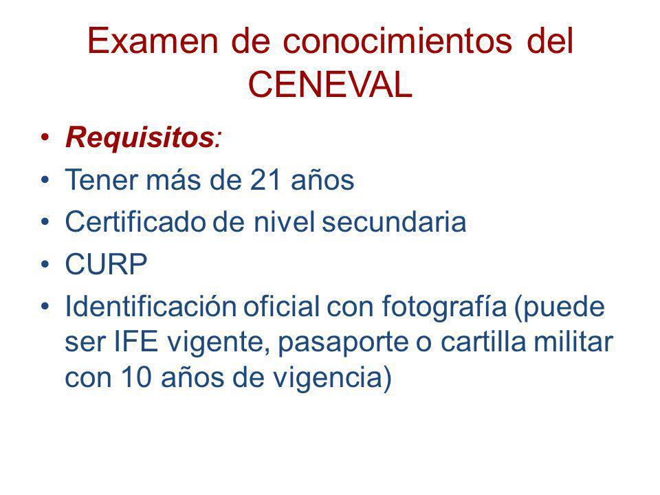 Examen de conocimientos del CENEVAL Requisitos: Tener más de 21 años Certificado de nivel secundaria CURP Identificación oficial con fotografía (puede