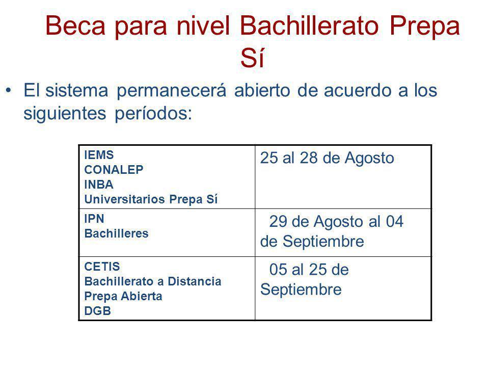 Beca para nivel Bachillerato Prepa Sí El sistema permanecerá abierto de acuerdo a los siguientes períodos: IEMS CONALEP INBA Universitarios Prepa Sí 2