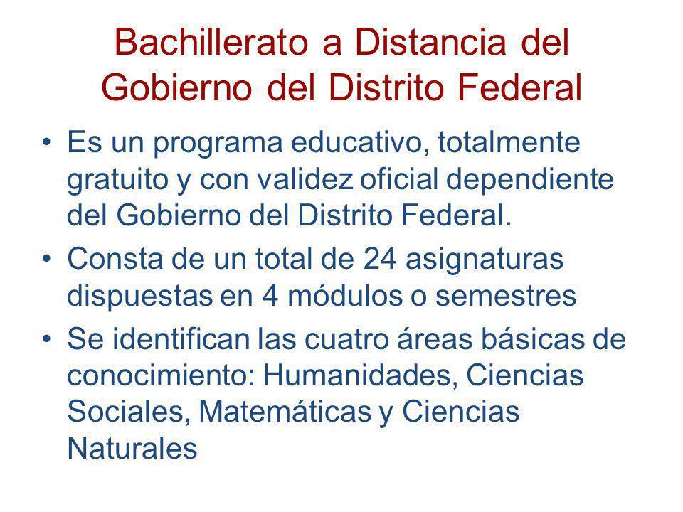 Bachillerato a Distancia del Gobierno del Distrito Federal Requisitos de inscripción: Tener su domicilio en alguna Delegación Política del Distrito Federal.