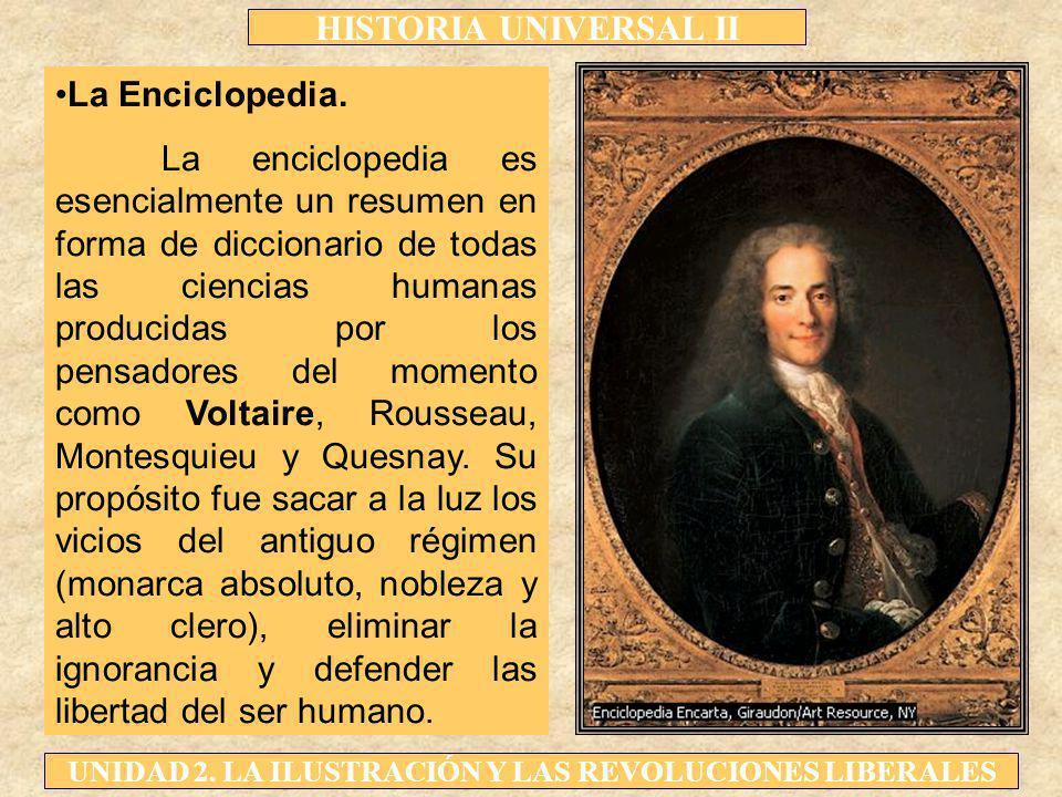 HISTORIA UNIVERSAL II UNIDAD 2. LA ILUSTRACIÓN Y LAS REVOLUCIONES LIBERALES La Enciclopedia. La enciclopedia es esencialmente un resumen en forma de d