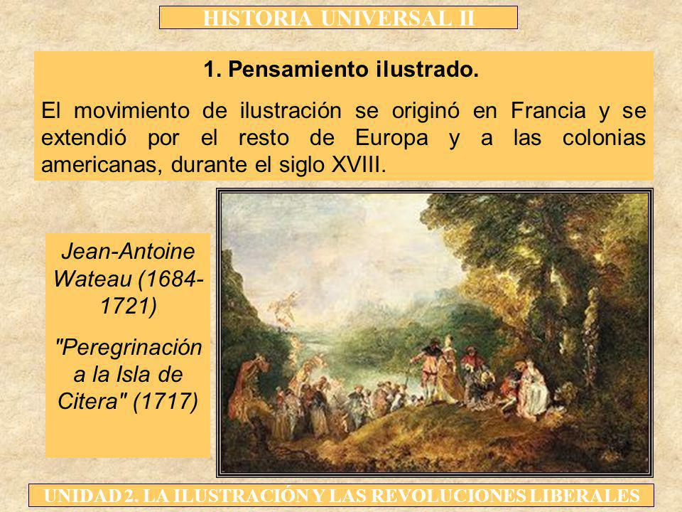 HISTORIA UNIVERSAL II UNIDAD 2. LA ILUSTRACIÓN Y LAS REVOLUCIONES LIBERALES 1. Pensamiento ilustrado. El movimiento de ilustración se originó en Franc