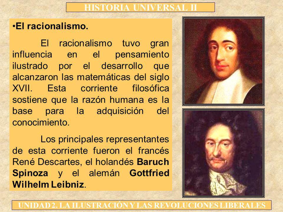 HISTORIA UNIVERSAL II UNIDAD 2. LA ILUSTRACIÓN Y LAS REVOLUCIONES LIBERALES El racionalismo. El racionalismo tuvo gran influencia en el pensamiento il
