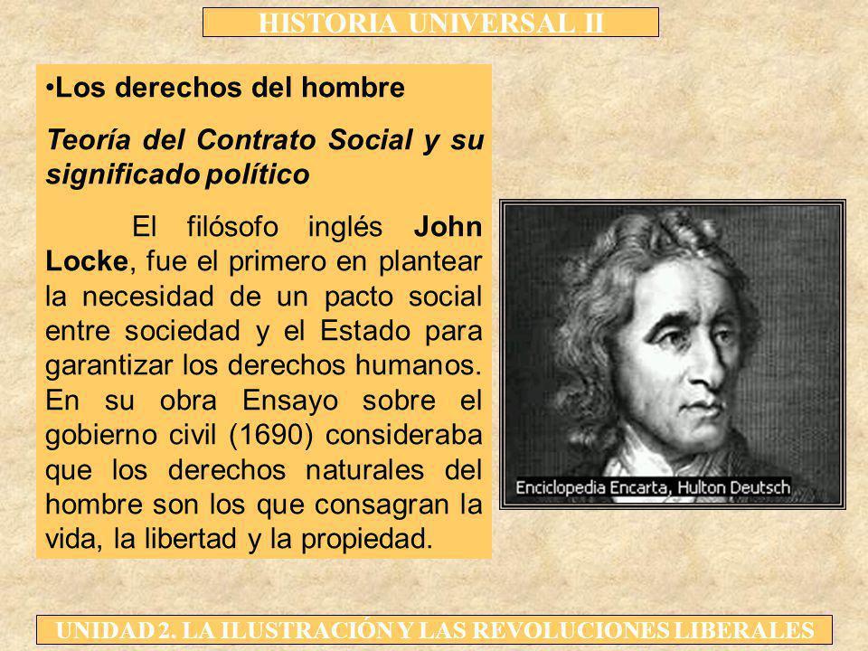 HISTORIA UNIVERSAL II UNIDAD 2. LA ILUSTRACIÓN Y LAS REVOLUCIONES LIBERALES Los derechos del hombre Teoría del Contrato Social y su significado políti