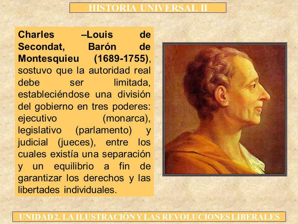 HISTORIA UNIVERSAL II UNIDAD 2. LA ILUSTRACIÓN Y LAS REVOLUCIONES LIBERALES Charles –Louis de Secondat, Barón de Montesquieu (1689-1755), sostuvo que