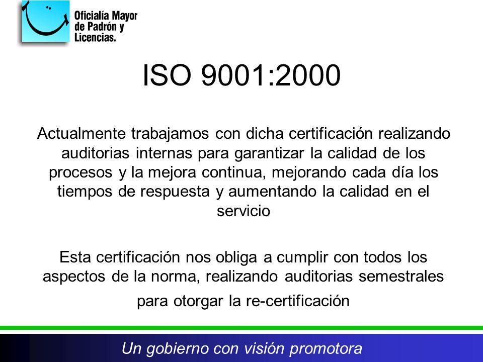 ISO 9001:2000 Actualmente trabajamos con dicha certificación realizando auditorias internas para garantizar la calidad de los procesos y la mejora continua, mejorando cada día los tiempos de respuesta y aumentando la calidad en el servicio Esta certificación nos obliga a cumplir con todos los aspectos de la norma, realizando auditorias semestrales para otorgar la re-certificación Un gobierno con visión promotora
