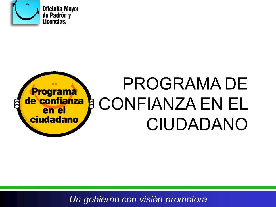PROGRAMA DE CONFIANZA EN EL CIUDADANO Un gobierno con visión promotora