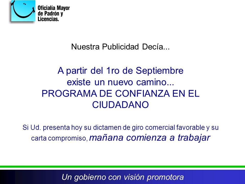 Nuestra Publicidad Decía... A partir del 1ro de Septiembre existe un nuevo camino... PROGRAMA DE CONFIANZA EN EL CIUDADANO Si Ud. presenta hoy su dict
