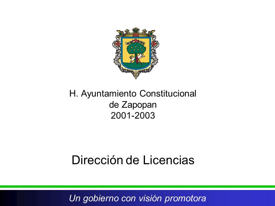 H. Ayuntamiento Constitucional de Zapopan 2001-2003 Dirección de Licencias Un gobierno con visión promotora