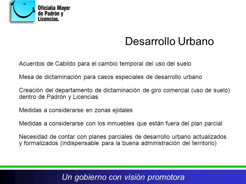 Un gobierno con visión promotora Acuerdos de Cabildo para el cambio temporal del uso del suelo Mesa de dictaminación para casos especiales de desarrol