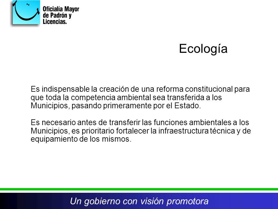 Un gobierno con visión promotora Es indispensable la creación de una reforma constitucional para que toda la competencia ambiental sea transferida a los Municipios, pasando primeramente por el Estado.