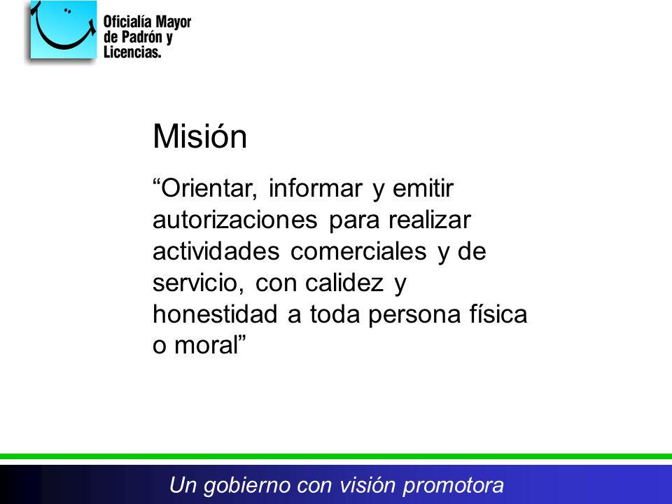 Un gobierno con visión promotora Misión Orientar, informar y emitir autorizaciones para realizar actividades comerciales y de servicio, con calidez y honestidad a toda persona física o moral Un gobierno con visión promotora