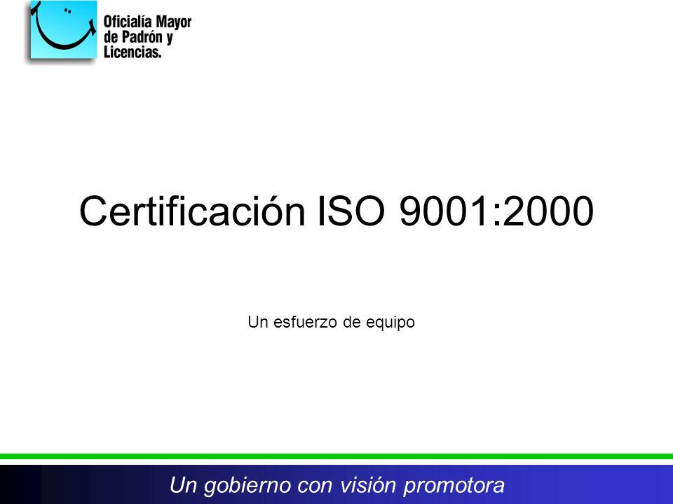 Certificación ISO 9001:2000 Un esfuerzo de equipo Un gobierno con visión promotora