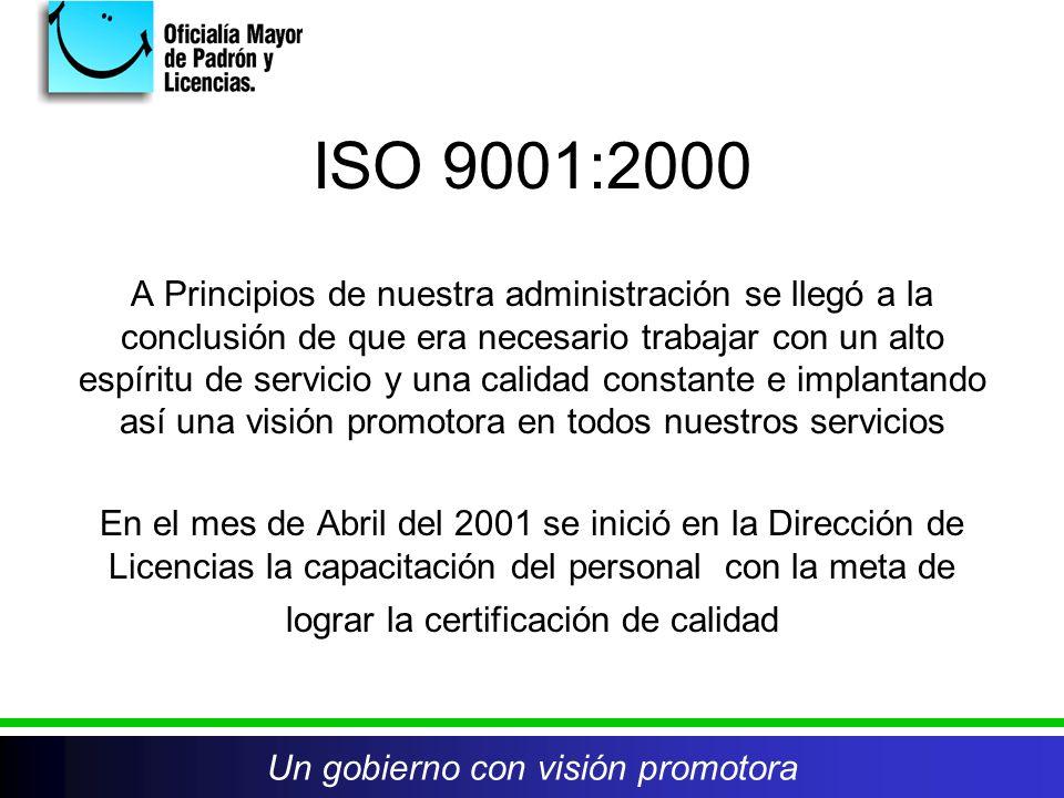 ISO 9001:2000 A Principios de nuestra administración se llegó a la conclusión de que era necesario trabajar con un alto espíritu de servicio y una calidad constante e implantando así una visión promotora en todos nuestros servicios En el mes de Abril del 2001 se inició en la Dirección de Licencias la capacitación del personal con la meta de lograr la certificación de calidad Un gobierno con visión promotora