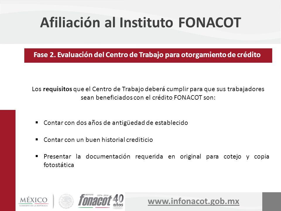 www.infonacot.gob.mx Afiliación al Instituto FONACOT Los requisitos que el Centro de Trabajo deberá cumplir para que sus trabajadores sean beneficiado