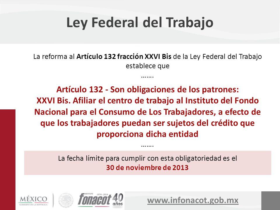 www.infonacot.gob.mx Ley Federal del Trabajo La reforma al Artículo 132 fracción XXVI Bis de la Ley Federal del Trabajo establece que ……. Artículo 132
