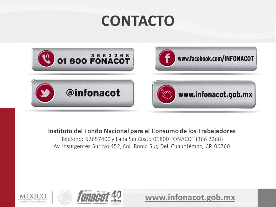 www.infonacot.gob.mx Instituto del Fondo Nacional para el Consumo de los Trabajadores Teléfono: 52657400 y Lada Sin Costo 01800 FONACOT (366 2268) Av.