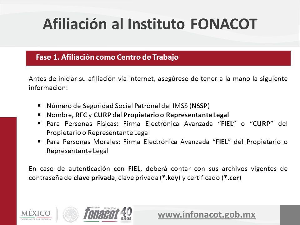 www.infonacot.gob.mx Afiliación al Instituto FONACOT Antes de iniciar su afiliación vía Internet, asegúrese de tener a la mano la siguiente informació