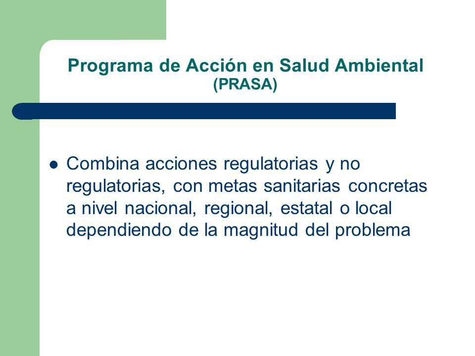 Programa de Acción en Salud Ambiental (PRASA) Combina acciones regulatorias y no regulatorias, con metas sanitarias concretas a nivel nacional, regional, estatal o local dependiendo de la magnitud del problema
