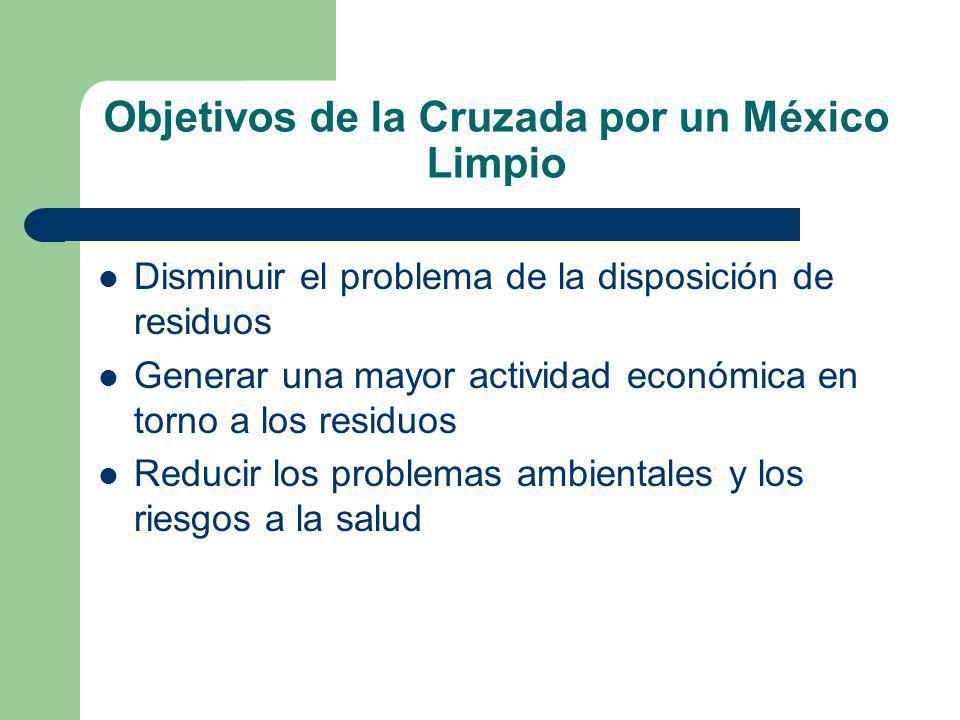 Objetivos de la Cruzada por un México Limpio Disminuir el problema de la disposición de residuos Generar una mayor actividad económica en torno a los residuos Reducir los problemas ambientales y los riesgos a la salud