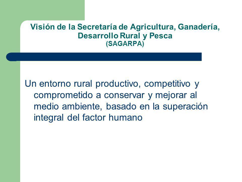 Visión de la Secretaría de Agricultura, Ganadería, Desarrollo Rural y Pesca (SAGARPA) Un entorno rural productivo, competitivo y comprometido a conservar y mejorar al medio ambiente, basado en la superación integral del factor humano