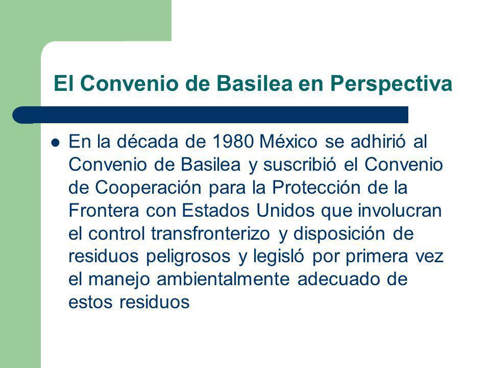 El Convenio de Basilea en Perspectiva En la década de 1980 México se adhirió al Convenio de Basilea y suscribió el Convenio de Cooperación para la Protección de la Frontera con Estados Unidos que involucran el control transfronterizo y disposición de residuos peligrosos y legisló por primera vez el manejo ambientalmente adecuado de estos residuos