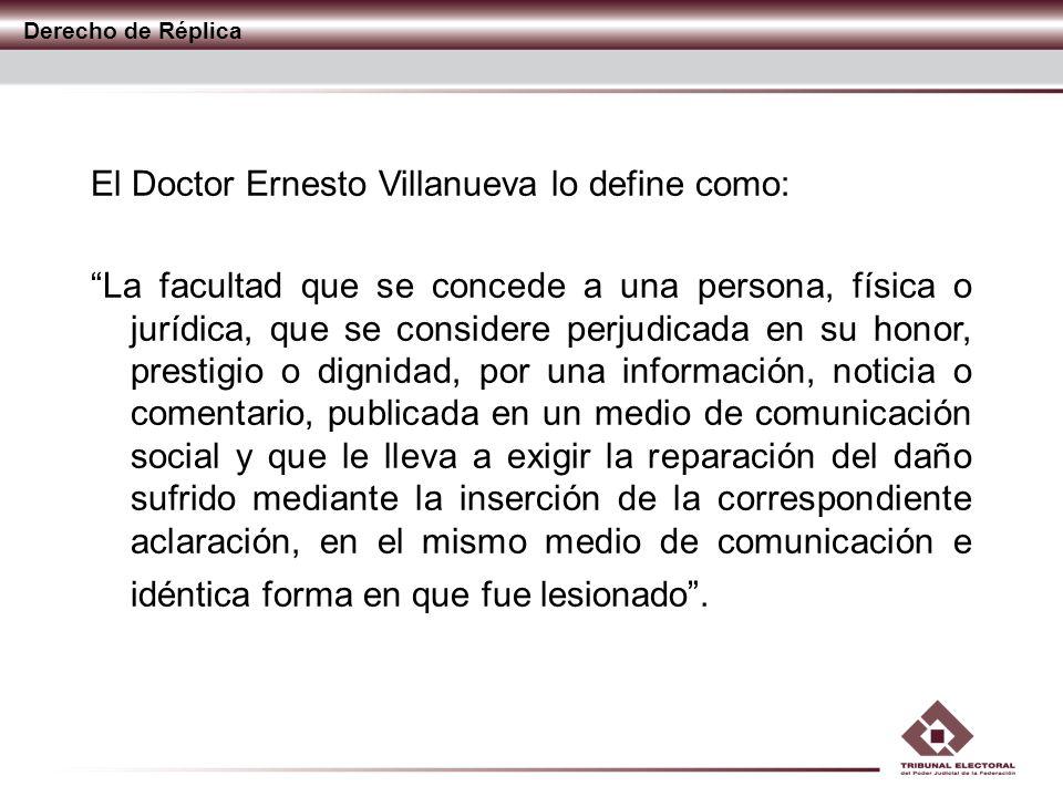 El Doctor Ernesto Villanueva lo define como: La facultad que se concede a una persona, física o jurídica, que se considere perjudicada en su honor, pr
