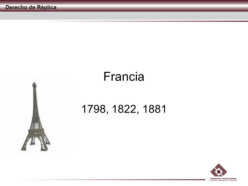 Derecho de Réplica Francia 1798, 1822, 1881