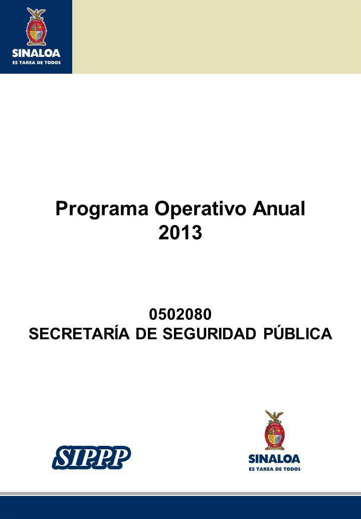Sistema Integral de Planeación, Programación y Presupuestación del Gasto Público Proceso para el Ejercicio Fiscal del año 2012 Programa Operativo Anual 2013 0502080 SECRETARÍA DE SEGURIDAD PÚBLICA