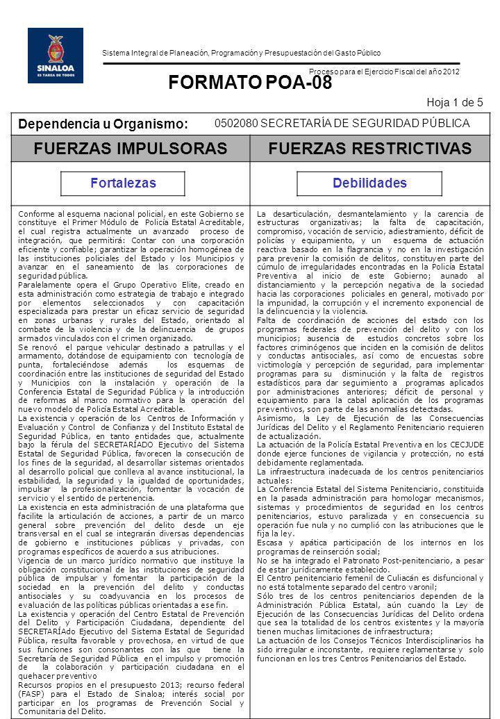 Sistema Integral de Planeación, Programación y Presupuestación del Gasto Público Proceso para el Ejercicio Fiscal del año 2012 FORMATO POA-08 Hoja 1 d