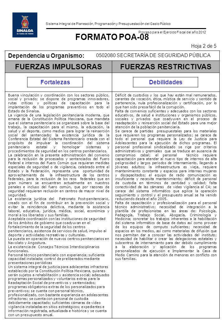 Sistema Integral de Planeación, Programación y Presupuestación del Gasto Público Proceso para el Ejercicio Fiscal del año 2012 FORMATO POA-08 Hoja 2 d