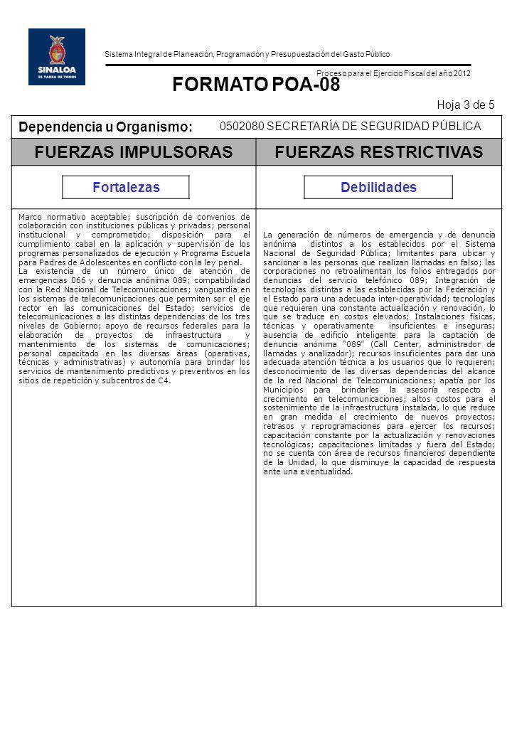 Sistema Integral de Planeación, Programación y Presupuestación del Gasto Público Proceso para el Ejercicio Fiscal del año 2012 FORMATO POA-08 Hoja 3 d