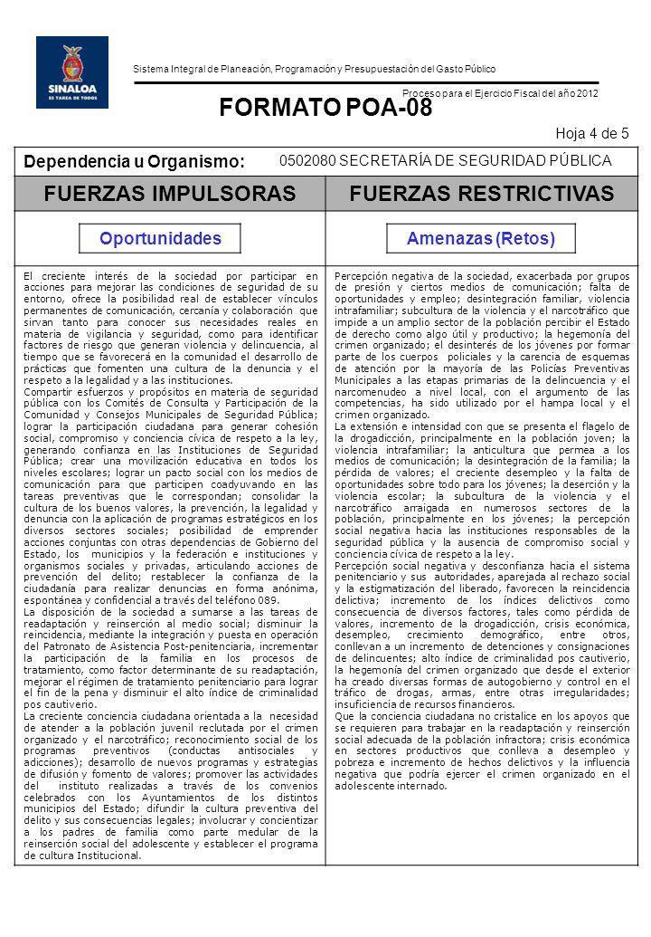 Sistema Integral de Planeación, Programación y Presupuestación del Gasto Público Proceso para el Ejercicio Fiscal del año 2012 FORMATO POA-08 Hoja 4 d