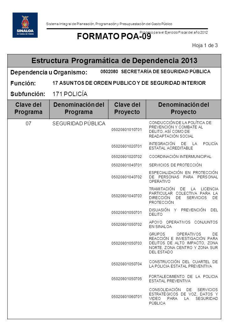 Sistema Integral de Planeación, Programación y Presupuestación del Gasto Público Proceso para el Ejercicio Fiscal del año 2012 FORMATO POA-09 Hoja 1 d