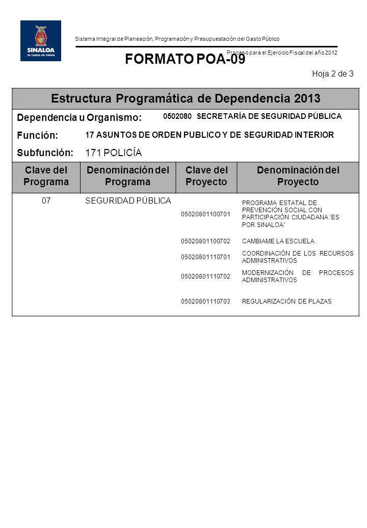 Sistema Integral de Planeación, Programación y Presupuestación del Gasto Público Proceso para el Ejercicio Fiscal del año 2012 FORMATO POA-09 Hoja 2 d