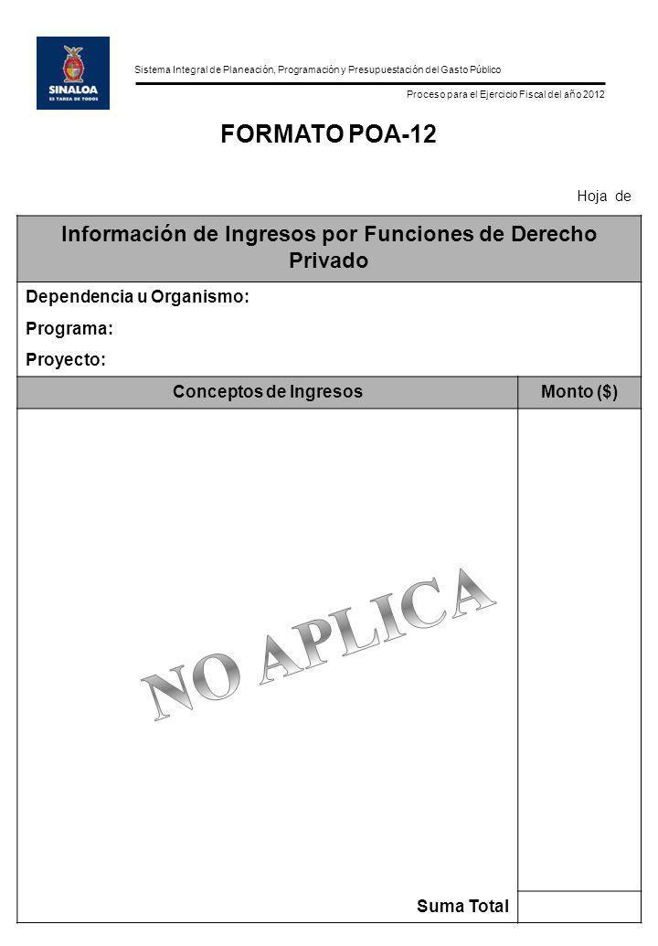 Sistema Integral de Planeación, Programación y Presupuestación del Gasto Público Proceso para el Ejercicio Fiscal del año 2012 FORMATO POA-12 Hoja de