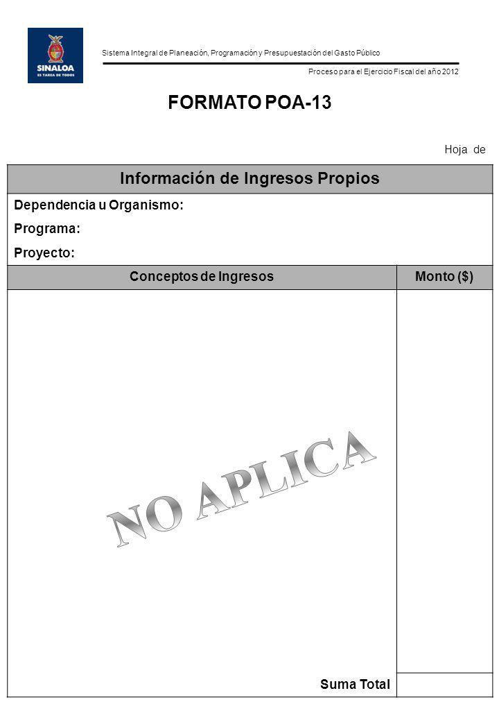 Sistema Integral de Planeación, Programación y Presupuestación del Gasto Público Proceso para el Ejercicio Fiscal del año 2012 FORMATO POA-13 Hoja de