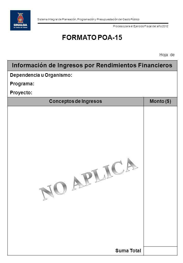 Sistema Integral de Planeación, Programación y Presupuestación del Gasto Público Proceso para el Ejercicio Fiscal del año 2012 FORMATO POA-15 Hoja de