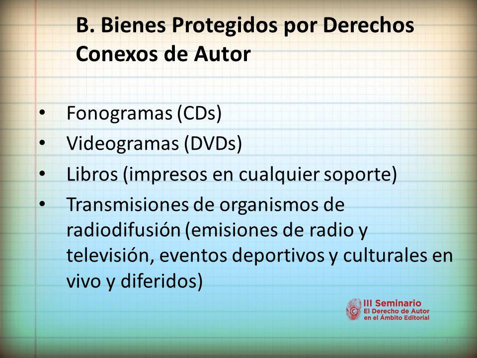 4 Fonogramas (CDs) Videogramas (DVDs) Libros (impresos en cualquier soporte) Transmisiones de organismos de radiodifusión (emisiones de radio y televisión, eventos deportivos y culturales en vivo y diferidos) B.