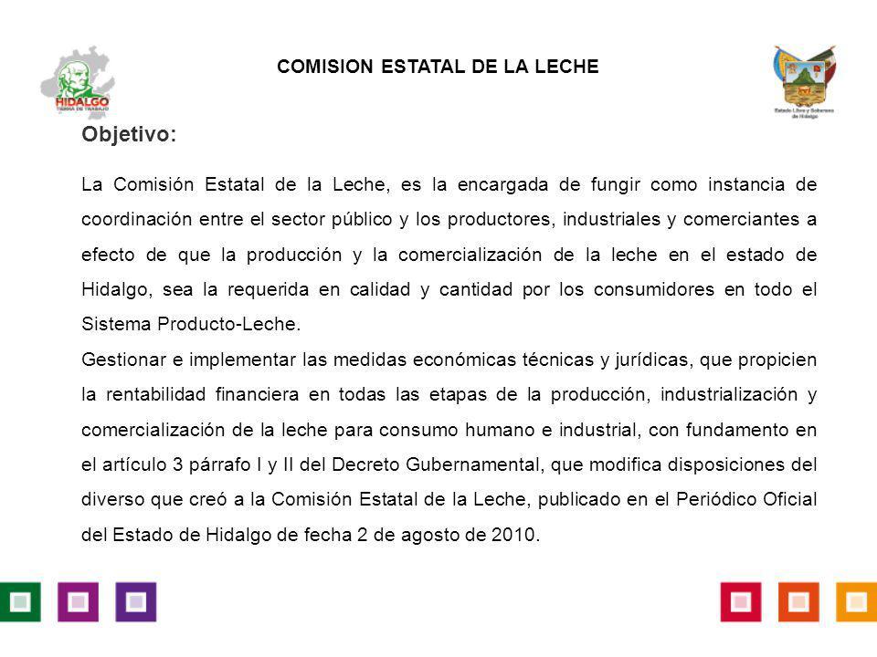 Objetivo: La Comisión Estatal de la Leche, es la encargada de fungir como instancia de coordinación entre el sector público y los productores, industr