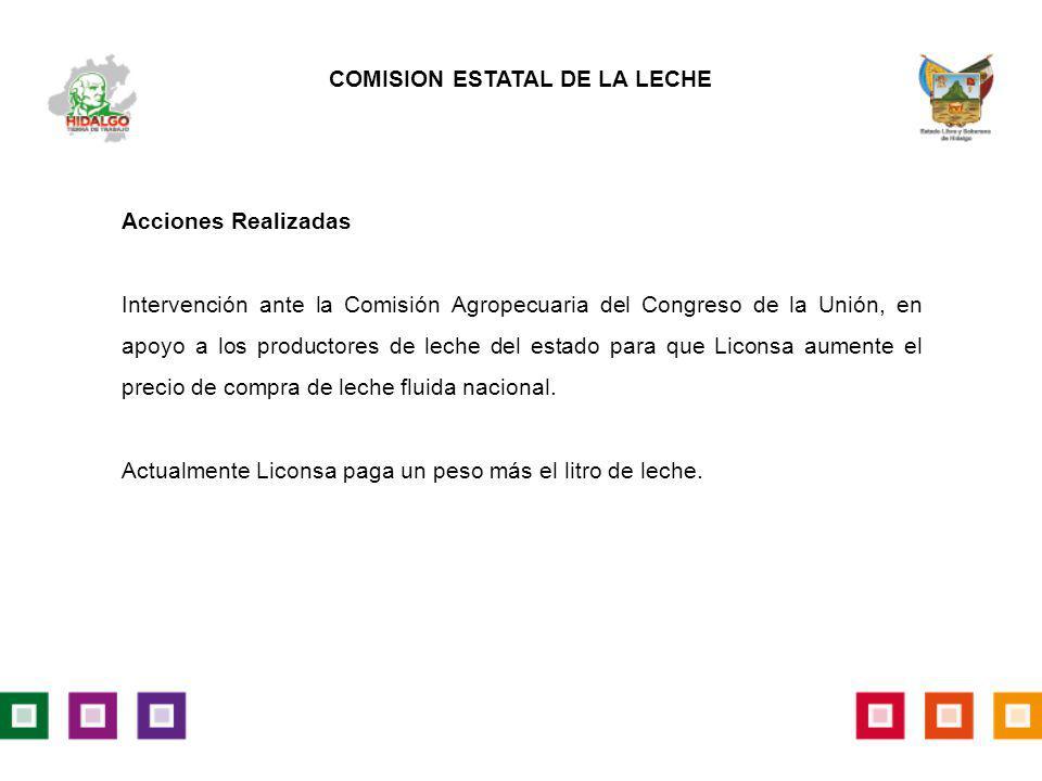 Acciones Realizadas Intervención ante la Comisión Agropecuaria del Congreso de la Unión, en apoyo a los productores de leche del estado para que Licon